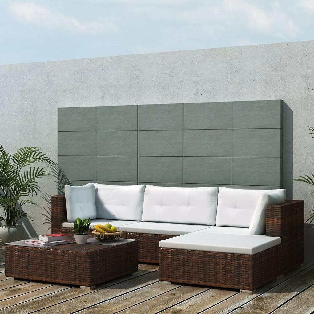 vidaXL 14-dielna záhradná sedacia súprava, polyratanová, hnedá