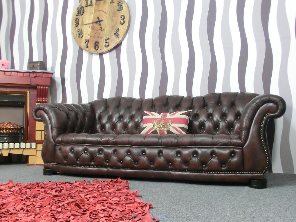 GLASGOW - Luxusná kožená pohovka hnedá Chesterfield