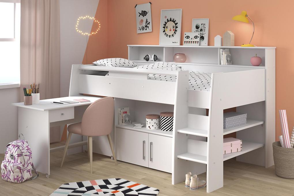 Biela detská multifunkčná posteľ Swan II pre dievča