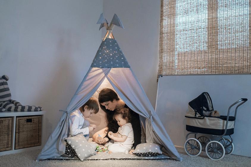 MAXMAX Detský stan TEEPEE (TÝPÍ) RUŽOVÍ MOTÝLCI + doplnky