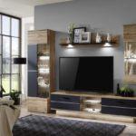 Alberto - Obývacia stena,osvetlenie (dub wotan/dub wotan,čierna)