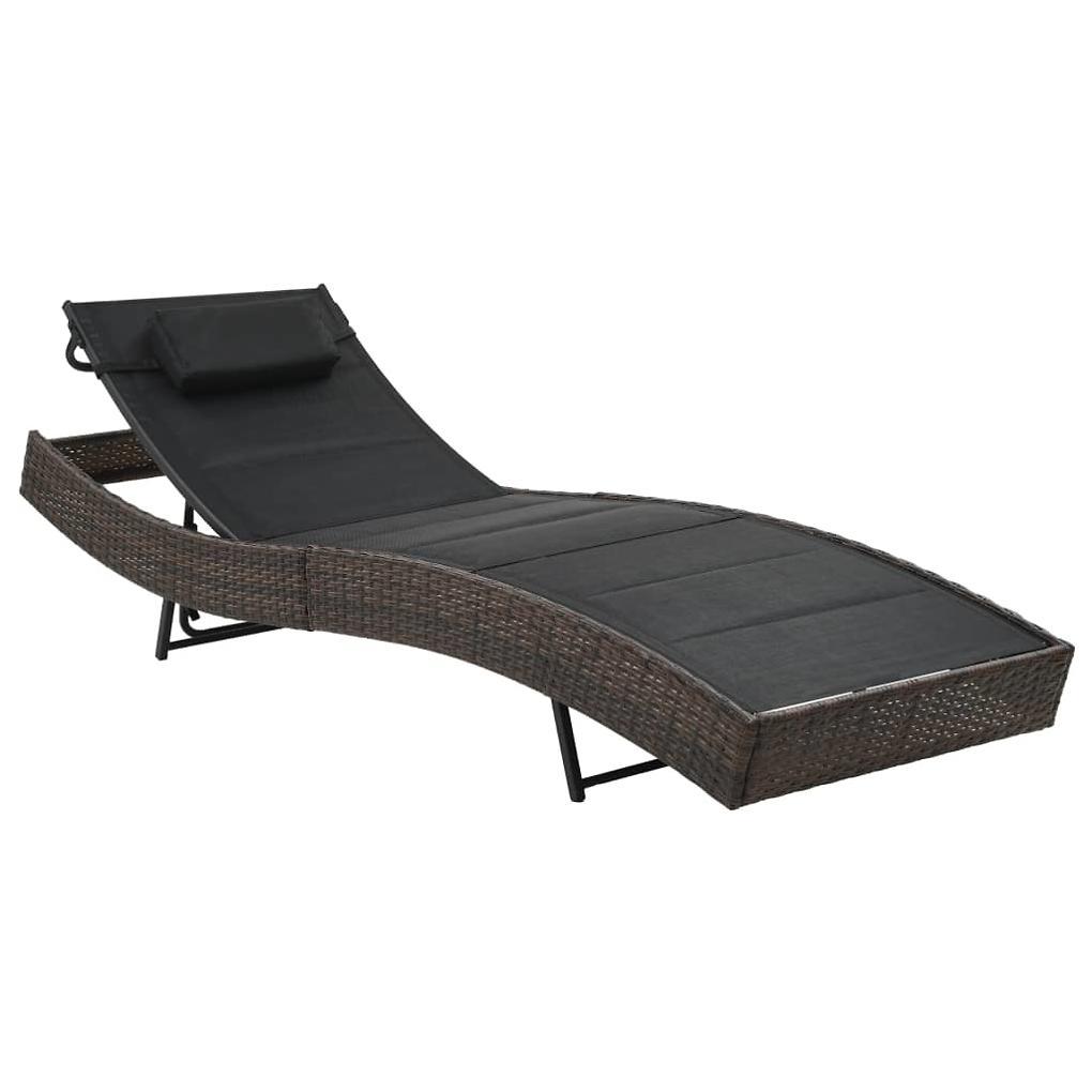 VidaXL Záhradné ležadlo, polyratan a textilén, hnedé