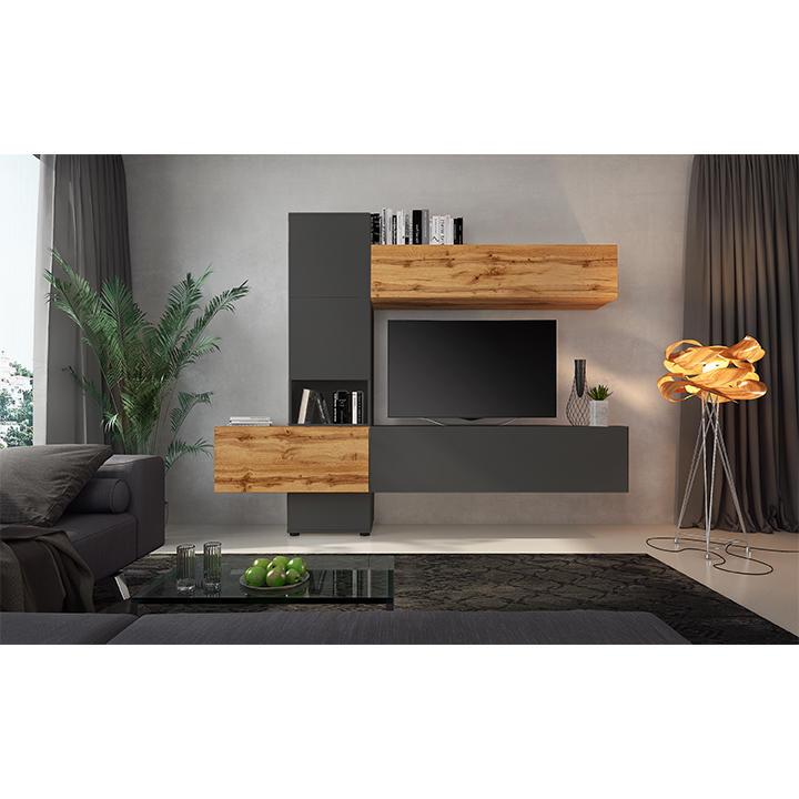 Obývacia stena, dub wotan/lava hnedá super mat, BRISTOL