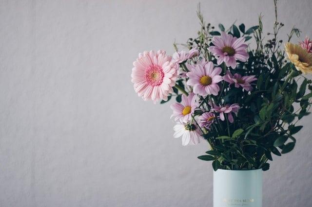 svetloruzove rezane kvety v bielej vaze